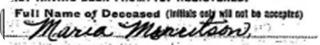 Sorensdatter Maren Mouritsen Death Certificate name entry